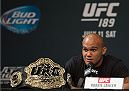 LAS VEGAS, NEVADA - JULY 9:  UFC welterweight champion Robbie Lawler speaks to the media during the UFC 189 & TUF Finale Press Conference at MGM Grand Hotel & Casino on July 9, 2015 in Las Vegas Nevada. (Photo by Brandon Magnus/Zuffa LLC/Zuffa LLC via Getty Images)