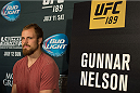 LAS VEGAS, NEVADA - JULY 9:   Gunnar Nelson speaks to the media during the UFC 189 & TUF Finale Ultimate Media Day at MGM Grand Hotel & Casino on July 9, 2015 in Las Vegas Nevada. (Photo by Brandon Magnus/Zuffa LLC/Zuffa LLC via Getty Images)
