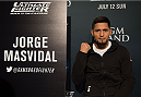 LAS VEGAS, NEVADA - JULY 9:   Jorge Masvidal speaks to the media during the UFC 189 & TUF Finale Ultimate Media Day at MGM Grand Hotel & Casino on July 9, 2015 in Las Vegas Nevada. (Photo by Brandon Magnus/Zuffa LLC/Zuffa LLC via Getty Images)