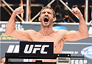 LAS VEGAS, NV - JULY 10:  Brad Pickett steps onto the scale during the UFC 189 weigh-in inside MGM Grand Garden Arena on July 10, 2015 in Las Vegas, Nevada.  (Photo by Josh Hedges/Zuffa LLC/Zuffa LLC via Getty Images)