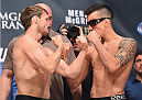 LAS VEGAS, NV - JULY 10:  (L-R) Brad Pickett and Thomas Almeida during the UFC 189 weigh-in inside MGM Grand Garden Arena on July 10, 2015 in Las Vegas, Nevada.  (Photo by Josh Hedges/Zuffa LLC/Zuffa LLC via Getty Images)