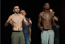 LAS VEGAS, NEVADA - JULY 11:   (L-R) Darrell Montague and Willie Gates face off during the TUF 21 Finale Weigh-in at the UFC Fan Expo in the Sands Expo and Convention Center on July 11, 2015 in Las Vegas Nevada. (Photo by Brandon Magnus/Zuffa LLC/Zuffa LLC via Getty Images)