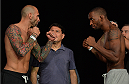 LAS VEGAS, NEVADA - JULY 11:   (L-R) George Sullivan and Dominic Waters face off during the TUF 21 Finale Weigh-in at the UFC Fan Expo in the Sands Expo and Convention Center on July 11, 2015 in Las Vegas Nevada. (Photo by Brandon Magnus/Zuffa LLC/Zuffa LLC via Getty Images)