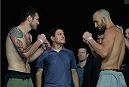 LAS VEGAS, NEVADA - JULY 11:   Dan Miller and Trevor Smith face off during the TUF 21 Finale Weigh-in at the UFC Fan Expo in the Sands Expo and Convention Center on July 11, 2015 in Las Vegas Nevada. (Photo by Brandon Magnus/Zuffa LLC/Zuffa LLC via Getty Images)