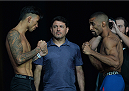 LAS VEGAS, NEVADA - JULY 11:   Russell Doane and Jerrod Sanders face off during the TUF 21 Finale Weigh-in at the UFC Fan Expo in the Sands Expo and Convention Center on July 11, 2015 in Las Vegas Nevada. (Photo by Brandon Magnus/Zuffa LLC/Zuffa LLC via Getty Images)
