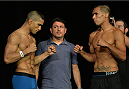 LAS VEGAS, NEVADA - JULY 11:   Maximo Blanco and Mike De La Torre face off during the TUF 21 Finale Weigh-in at the UFC Fan Expo in the Sands Expo and Convention Center on July 11, 2015 in Las Vegas Nevada. (Photo by Brandon Magnus/Zuffa LLC/Zuffa LLC via Getty Images)
