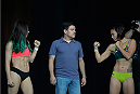 LAS VEGAS, NEVADA - JULY 11:   (L-R) Angela Magana and Michelle Waterson face off during the TUF 21 Finale Weigh-in at the UFC Fan Expo in the Sands Expo and Convention Center on July 11, 2015 in Las Vegas Nevada. (Photo by Brandon Magnus/Zuffa LLC/Zuffa LLC via Getty Images)