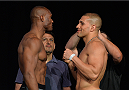 LAS VEGAS, NEVADA - JULY 11:   (L-R) Kamaru Usman and Hayden Hassan face off during the TUF 21 Finale Weigh-in at the UFC Fan Expo in the Sands Expo and Convention Center on July 11, 2015 in Las Vegas Nevada. (Photo by Brandon Magnus/Zuffa LLC/Zuffa LLC via Getty Images)