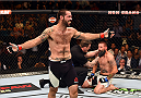 LAS VEGAS, NV - JULY 11:  (L) Matt Brown celebrates his win over Tim Means in their welterweight fight during the UFC 189 event inside MGM Grand Garden Arena on July 11, 2015 in Las Vegas, Nevada.  (Photo by Josh Hedges/Zuffa LLC/Zuffa LLC via Getty Images) *** Local Caption *** Matt Brown; Tim Means