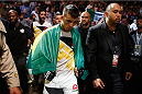 LAS VEGAS, NV - JULY 11:  Thomas Almeida walks to the Octagon to face Brad Pickett in their bantamweight fight during the UFC 189 event inside MGM Grand Garden Arena on July 11, 2015 in Las Vegas, Nevada.  (Photo by Christian Petersen/Zuffa LLC/Zuffa LLC via Getty Images) *** Local Caption *** Thomas Almeida