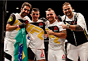 LAS VEGAS, NV - JULY 11:  Thomas Almeida and corner celebrate his win over Brad Pickett in their bantamweight fight during the UFC 189 event inside MGM Grand Garden Arena on July 11, 2015 in Las Vegas, Nevada.  (Photo by Christian Petersen/Zuffa LLC/Zuffa LLC via Getty Images) *** Local Caption *** Thomas Almeida