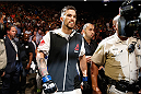 LAS VEGAS, NV - JULY 11:  Brandon Thatch walks to the Octagon to face Gunnar Nelson in their welterweight fight during the UFC 189 event inside MGM Grand Garden Arena on July 11, 2015 in Las Vegas, Nevada.  (Photo by Christian Petersen/Zuffa LLC/Zuffa LLC via Getty Images) *** Local Caption *** Brandon Thatch