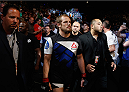 LAS VEGAS, NV - JULY 11:  Gunnar Nelson walks to the Octagon to face Brandon Thatch in their welterweight fight during the UFC 189 event inside MGM Grand Garden Arena on July 11, 2015 in Las Vegas, Nevada.  (Photo by Christian Petersen/Zuffa LLC/Zuffa LLC via Getty Images) *** Local Caption *** Gunnar Nelson