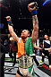 LAS VEGAS, NV - JULY 11:  Conor McGregor reacts to his victory over Chad Mendes in their UFC interim featherweight title fight during the UFC 189 event inside MGM Grand Garden Arena on July 11, 2015 in Las Vegas, Nevada.  (Photo by Josh Hedges/Zuffa LLC/Zuffa LLC via Getty Images) *** Local Caption *** Chad Mendes; Conor McGregor