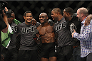 LAS VEGAS, NV - JULY 12:  Kamaru Usman (center) celebrates with his teammates after defeating Hayder Hassan in their welterweight bout during the Ultimate Fighter Finale inside MGM Grand Garden Arena on July 12, 2015 in Las Vegas, Nevada.  (Photo by Mitch Viquez/Zuffa LLC/Zuffa LLC via Getty Images)