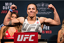 SAN DIEGO, CA - JULY 14:  Jessica Andrade of Brazil steps on the scale during the UFC weigh-in at the Valley View Casino Center on July 14, 2015 in San Diego, California. (Photo by Jeff Bottari/Zuffa LLC/Zuffa LLC via Getty Images)
