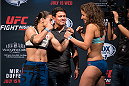 SAN DIEGO, CA - JULY 14:  (L-R) Jessica Andrade of Brazil and Sarah Moras face-off during the UFC weigh-in at the Valley View Casino Center on July 14, 2015 in San Diego, California. (Photo by Jeff Bottari/Zuffa LLC/Zuffa LLC via Getty Images)