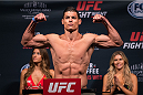 SAN DIEGO, CA - JULY 14:  Alan Jouban steps on the scale during the UFC weigh-in at the Valley View Casino Center on July 14, 2015 in San Diego, California. (Photo by Jeff Bottari/Zuffa LLC/Zuffa LLC via Getty Images)
