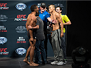 SAN DIEGO, CA - JULY 14:  (L-R) Kevin Lee and James Moontasri face-off during the UFC weigh-in at the Valley View Casino Center on July 14, 2015 in San Diego, California. (Photo by Jeff Bottari/Zuffa LLC/Zuffa LLC via Getty Images)