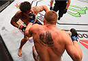 SAN DIEGO, CA - JULY 15:   (R-L) Todd Duffee punches Frank Mir in their heavyweight bout during the UFC event at the Valley View Casino Center on July 15, 2015 in San Diego, California. (Photo by Jeff Bottari/Zuffa LLC/Zuffa LLC via Getty Images)