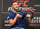 GLASGOW, SCOTLAND - JULY 17:  Featherweight Cub Swanson interacts with fans during a Q&A session before the UFC weigh-in inside the SSE Hydro on July 17, 2015 in Glasgow, Scotland.  (Photo by Josh Hedges/Zuffa LLC/Zuffa LLC via Getty Images)