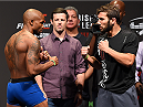 GLASGOW, SCOTLAND - JULY 17:  (L-R) Opponents Marcus Brimage of the United States and Jimmie Rivera of the United States face off during the UFC weigh-in inside the SSE Hydro on July 17, 2015 in Glasgow, Scotland.  (Photo by Josh Hedges/Zuffa LLC/Zuffa LLC via Getty Images)