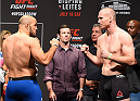 GLASGOW, SCOTLAND - JULY 17:  (L-R) Opponents Ilir Latifi of Sweden and Hans Stringer of the Netherlands face off during the UFC weigh-in inside the SSE Hydro on July 17, 2015 in Glasgow, Scotland.  (Photo by Josh Hedges/Zuffa LLC/Zuffa LLC via Getty Images)