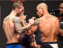 GLASGOW, SCOTLAND - JULY 17:  (L-R) Opponents Stevie Ray of Scotland and Leonardo Mafra of Brazil face off during the UFC weigh-in inside the SSE Hydro on July 17, 2015 in Glasgow, Scotland.  (Photo by Josh Hedges/Zuffa LLC/Zuffa LLC via Getty Images)