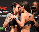 GLASGOW, SCOTLAND - JULY 17:  (L-R) Opponents Joanne Calderwood of Scotland and Cortney Casey of the United States face off during the UFC weigh-in inside the SSE Hydro on July 17, 2015 in Glasgow, Scotland.  (Photo by Josh Hedges/Zuffa LLC/Zuffa LLC via Getty Images)