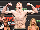 GLASGOW, SCOTLAND - JULY 17:  Joe Duffy of Ireland steps on the scale during the UFC weigh-in inside the SSE Hydro on July 17, 2015 in Glasgow, Scotland.  (Photo by Josh Hedges/Zuffa LLC/Zuffa LLC via Getty Images)