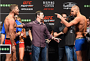 GLASGOW, SCOTLAND - JULY 17:  (L-R) Opponents Michael Bisping of England and Thales Leites of Brazil face off during the UFC weigh-in inside the SSE Hydro on July 17, 2015 in Glasgow, Scotland.  (Photo by Josh Hedges/Zuffa LLC/Zuffa LLC via Getty Images)