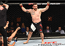 GLASGOW, SCOTLAND - JULY 18:  Daniel Omielanczuk of Poland reacts after his knockout victory over Chris De La Rocha of the United States in their heavyweight fight during the UFC Fight Night event inside the SSE Hydro on July 18, 2015 in Glasgow, Scotland.  (Photo by Josh Hedges/Zuffa LLC/Zuffa LLC via Getty Images)