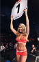 GLASGOW, SCOTLAND - JULY 18:  UFC Octagon Girl Carly Baker introduces a round during the UFC Fight Night event inside the SSE Hydro on July 18, 2015 in Glasgow, Scotland.  (Photo by Josh Hedges/Zuffa LLC/Zuffa LLC via Getty Images)