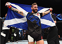GLASGOW, SCOTLAND - JULY 18:  Robert Whiteford of Scotland reacts after his TKO victory over Paul Redmond of Ireland in their featherweight fight during the UFC Fight Night event inside the SSE Hydro on July 18, 2015 in Glasgow, Scotland.  (Photo by Josh Hedges/Zuffa LLC/Zuffa LLC via Getty Images)