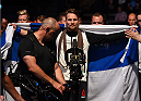 GLASGOW, SCOTLAND - JULY 18:   Teemu Packalen of Finland enters the arena before his lightweight fight against Mickael Lebout of France during the UFC Fight Night event inside the SSE Hydro on July 18, 2015 in Glasgow, Scotland.  (Photo by Josh Hedges/Zuffa LLC/Zuffa LLC via Getty Images)