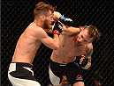 GLASGOW, SCOTLAND - JULY 18:  (R-L) Teemu Packalen of Finland punches Mickael Lebout of France in their lightweight fight during the UFC Fight Night event inside the SSE Hydro on July 18, 2015 in Glasgow, Scotland.  (Photo by Josh Hedges/Zuffa LLC/Zuffa LLC via Getty Images)