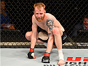GLASGOW, SCOTLAND - JULY 18:  Paddy Holohan of Ireland crouches in the Octagon during his flyweight fight against Vaughan Lee of England during the UFC Fight Night event inside the SSE Hydro on July 18, 2015 in Glasgow, Scotland.  (Photo by Josh Hedges/Zuffa LLC/Zuffa LLC via Getty Images)