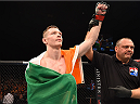 GLASGOW, SCOTLAND - JULY 18:  Joe Duffy of Ireland reacts after his submission victory over Ivan Jorge of Brazil in their lightweight fight during the UFC Fight Night event inside the SSE Hydro on July 18, 2015 in Glasgow, Scotland.  (Photo by Josh Hedges/Zuffa LLC/Zuffa LLC via Getty Images)