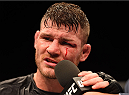 GLASGOW, SCOTLAND - JULY 18:  Michael Bisping of England is interviewed after his split-decision victory over Thales Leites of Brazil in their middleweight fight during the UFC Fight Night event inside the SSE Hydro on July 18, 2015 in Glasgow, Scotland.  (Photo by Josh Hedges/Zuffa LLC/Zuffa LLC via Getty Images)