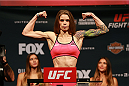 CHICAGO, IL - JULY 24:  Jessamyn Duke steps on the scale during the UFC weigh-in at the United Center on July 24, 2015 in Chicago, Illinois. (Photo by Rey Del Rio/Zuffa LLC/Zuffa LLC via Getty Images)