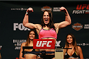CHICAGO, IL - JULY 24:  Jessica Eye steps on the scale during the UFC weigh-in at the United Center on July 24, 2015 in Chicago, Illinois. (Photo by Rey Del Rio/Zuffa LLC/Zuffa LLC via Getty Images)