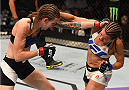 CHICAGO, IL - JULY 25:   (L-R) Jessamyn Duke and Elizabeth Phillips trade punches in their women's bantamweight bout during the UFC event at the United Center on July 25, 2015 in Chicago, Illinois. (Photo by Jeff Bottari/Zuffa LLC/Zuffa LLC via Getty Images)