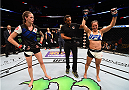 CHICAGO, IL - JULY 25:   Elizabeth Phillips (R) reacts after her unanimous-decision victory over Jessamyn Duke in their women's bantamweight bout during the UFC event at the United Center on July 25, 2015 in Chicago, Illinois. (Photo by Jeff Bottari/Zuffa LLC/Zuffa LLC via Getty Images)