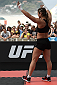 RIO DE JANEIRO, BRAZIL - JULY 29:  Womens bantamweight contender Bethe Correia of Brazil nods to fans during open training session at Pepe Beach on July 29, 2015 in Rio de Janeiro, Brazil.  (Photo by Buda Mendes/Zuffa LLC/Zuffa LLC via Getty Images)