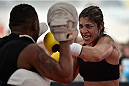 RIO DE JANEIRO, BRAZIL - JULY 29:  Womens bantamweight contender Bethe Correia of Brazil holds an open training session at Pepe Beach on July 29, 2015 in Rio de Janeiro, Brazil.  (Photo by Buda Mendes/Zuffa LLC/Zuffa LLC via Getty Images)