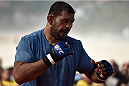 RIO DE JANEIRO, BRAZIL - JULY 29:  Heavyweight contender Antonio Rodrigo 'Minotauro' Nogueira of Brazil holds an open training session at Pepe Beach on July 29, 2015 in Rio de Janeiro, Brazil.  (Photo by Buda Mendes/Zuffa LLC/Zuffa LLC via Getty Images)