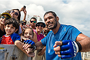 RIO DE JANEIRO, BRAZIL - JULY 29:  Heavyweight contender Antonio Rodrigo 'Minotauro' Nogueira of Brazil takes photos with fans during open training session at Pepe Beach on July 29, 2015 in Rio de Janeiro, Brazil.  (Photo by Buda Mendes/Zuffa LLC/Zuffa LLC via Getty Images)