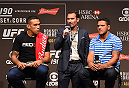 RIO DE JANEIRO, BRAZIL - JULY 31:  (L-R) UFC heavyweight champion Fabricio Werdum, Senior Vice President and General Manager of Brazil Giovani Decker, and UFC lightweight champion Rafael Dos Anjos interact with the media during the UFC 190 weigh-in inside HSBC Arena on July 31, 2015 in Rio de Janeiro, Brazil.  (Photo by Josh Hedges/Zuffa LLC/Zuffa LLC via Getty Images)
