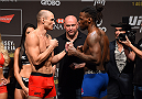 RIO DE JANEIRO, BRAZIL - JULY 31:  (L-R) Vitor Miranda and Clint Hester face off during the UFC 190 weigh-in inside HSBC Arena on July 31, 2015 in Rio de Janeiro, Brazil.  (Photo by Josh Hedges/Zuffa LLC/Zuffa LLC via Getty Images)