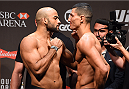 RIO DE JANEIRO, BRAZIL - JULY 31:  (L-R) Warlley Alves and Nordine Taleb face off during the UFC 190 weigh-in inside HSBC Arena on July 31, 2015 in Rio de Janeiro, Brazil.  (Photo by Josh Hedges/Zuffa LLC/Zuffa LLC via Getty Images)